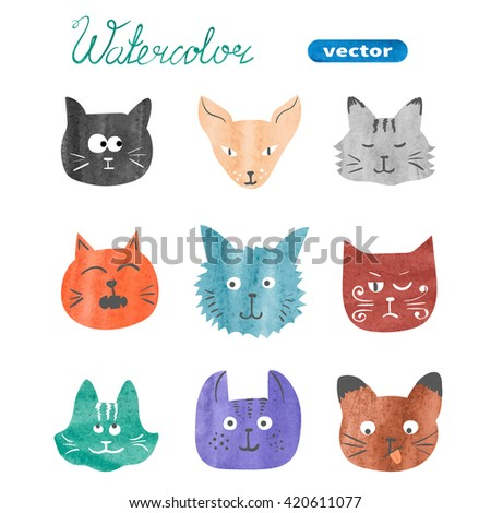 Set of cute cats. Watercolor collection of cats heads isolated on white. Vector illustration.  - stock vector