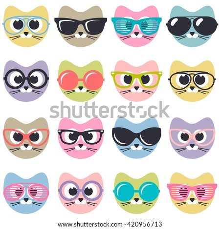 set of cute cats with sunglasses - stock vector