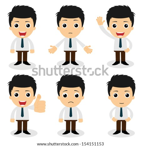 set of cute characters businessman and office worker poses in various - stock vector