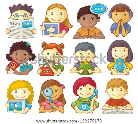 Set Of Cute Characters For Web Menu - stock vector