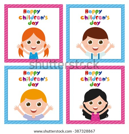 Set of cute children on similar textured backgrounds - stock vector