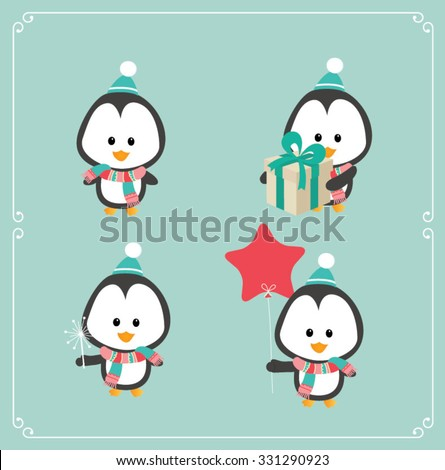 Set of cute Christmas character - penguin. Vector illustration - stock vector