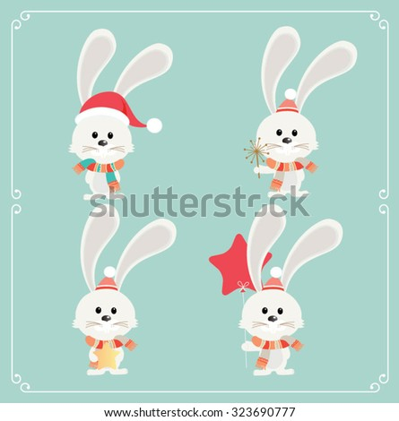 Set of cute Christmas character. Vector illustration of white bunny in deterrent positions - stock vector