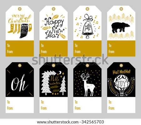 Set of 8 cute christmas gift tags with hand-inked elements - stock vector