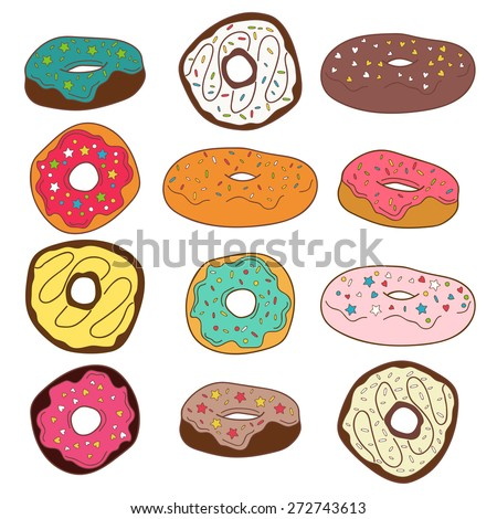 Set of cute colorful donuts. Vector illustration - stock vector