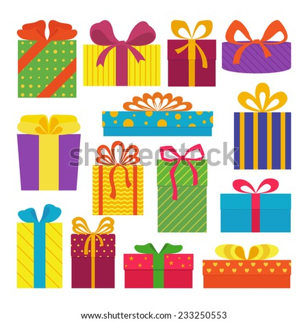 Set of cute colorful gift boxes, isolated on white background. Postcard, greeting card. Christmas gifts, sale. Vector illustration.  - stock vector