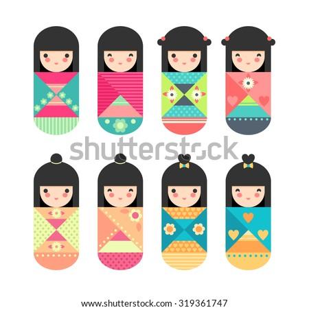 Set of cute colorful Japanese Kokeshi Dolls - stock vector