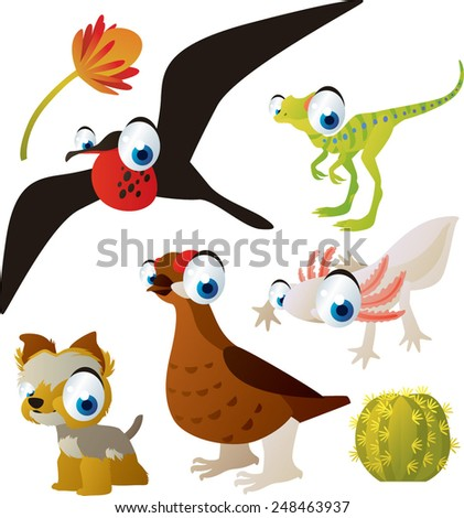 set of cute comic animals: frigate bird, dinosaur, grouse, yorksire terrier, axolotl - stock vector