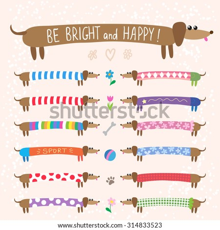 Set of cute dachshunds dog in bright multicolored clothing - stock vector