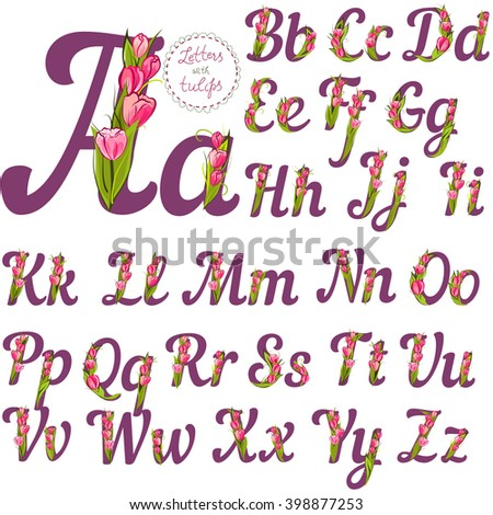 Set of cute decorative letters, made with tulips, vector illustration, full alphabet collection - stock vector