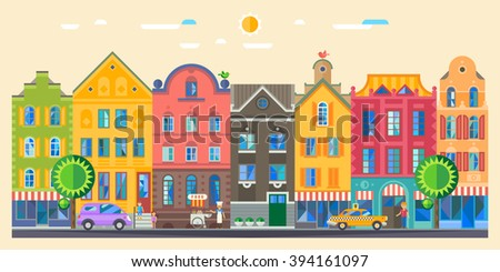 Set of cute detailed vector old city houses. European retro style building facades. Flat vector illustration. - stock vector