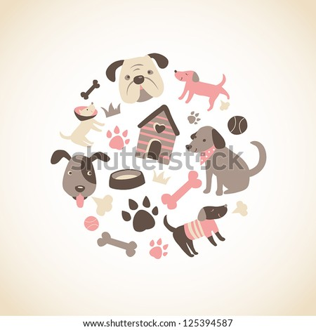 Set of cute doggy related icons arranged in a circle. - stock vector