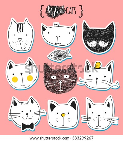Set of cute doodle cats . Funny cats. Characters cat. Cat handmade . Print T-shirts for the cat . Print for clothes . Kids Doodle animals . Stylish muzzle cats . Isolated cat.  Emotions for design - stock vector