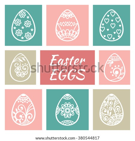 Set of cute Easter eggs. Happy Easter. Easter elements. Vector illustration - stock vector