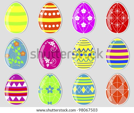 Set of cute easter eggs stickers. Vector eps10. - stock vector