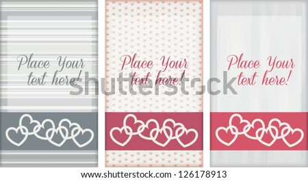 Set of cute editable template greeting cards, isolated on white, with pattern background, for Wedding, Valentine's day, or other romantic occasion - stock vector