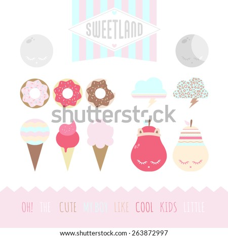 Set of cute elements - stock vector