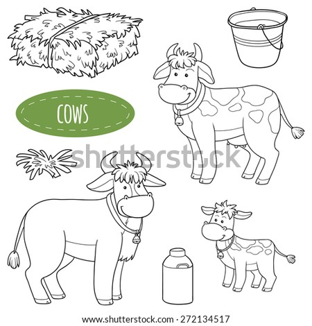 Set of cute farm animals and objects, vector family cows - stock vector