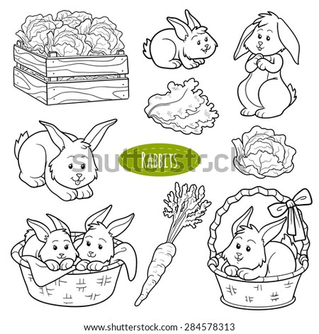 Set of cute farm animals and objects, vector family rabbits - stock vector