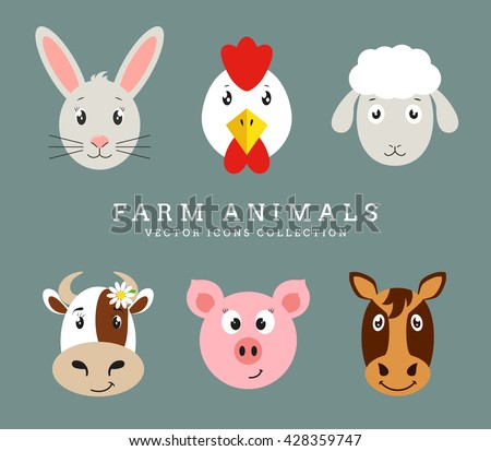 Set of cute farm animals head isolated on clean background. Vector flat icons. - stock vector