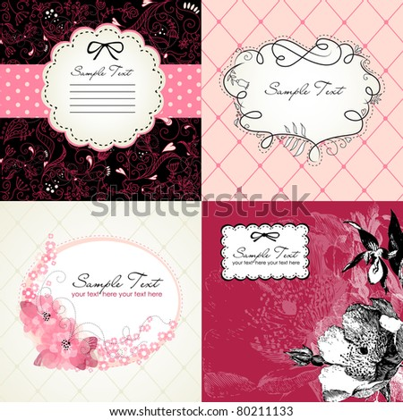 Set of cute floral frames - stock vector