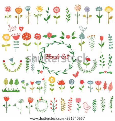 Set of cute flowers. Hand drawn vector illustration. - stock vector