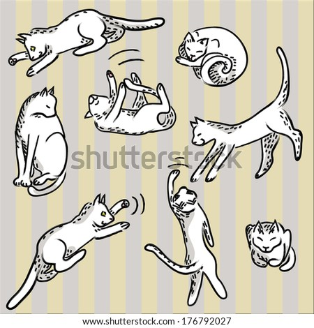 set of cute funny hand-drawn cats - stock vector