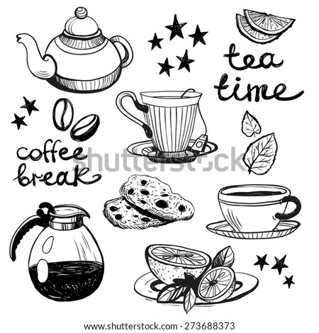 Set of cute hand drawn coffee and tea attributes. Vector illustration. Set of isolated home breakfast decorative elements on white background. - stock vector