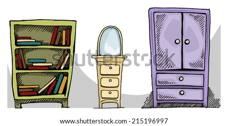 Set of cute, hand drawn furniture, vector illustration - stock vector