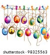 Set of Cute Hanging Easter Eggs. Isolated on white background - stock vector