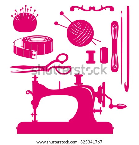 Set of cute isolated Sewing Supplies . Vintage images of sewing machine, needle, scissors,  ball of thread with spokes,  scissors and spool.illustration - stock vector