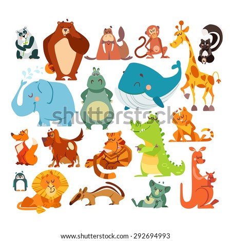 Set of cute kawaii cartoon animals. Panda bear, bear, monkey, giraffe, skunk, elephant, hippo, whale, fox, dog, tiger, alligator, cat, penguin, lion, koala and kangaroo. Vector illustrations - stock vector