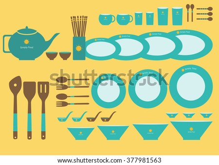 Set of cute kitchenware on yellow backgrounds - stock vector