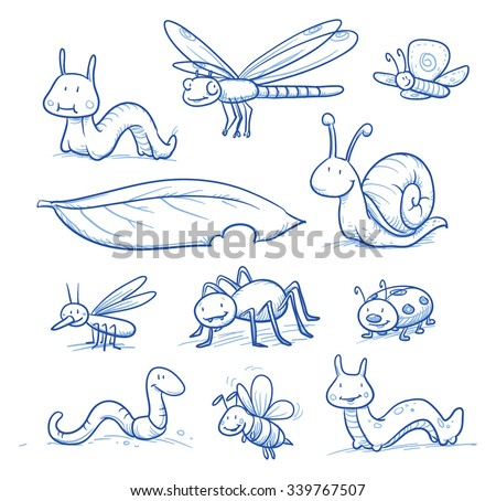 Set of cute little cartoon insects and small animals: Bugs, bee, worm, caterpillar, butterfly, spider, snail, dragonfly and leaf. For children or baby shower cards. Hand drawn vector illustration. - stock vector