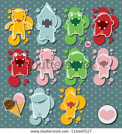 Set of cute little monsters on dotted background, vector - stock vector
