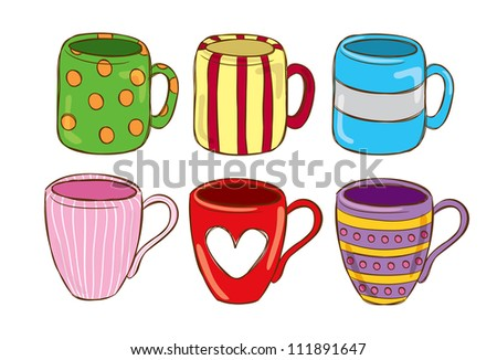 set of cute mug in doodle style - stock vector