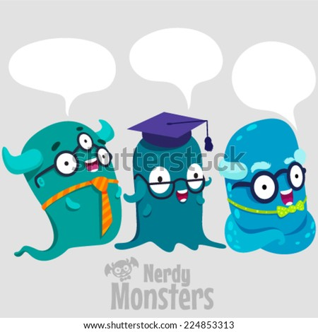 Set of cute nerdy monsters with speech bubbles - stock vector