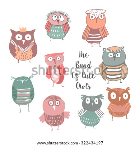 Set of cute owls, kids background - stock vector