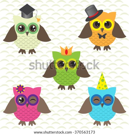 Set of cute owls with hats - stock vector