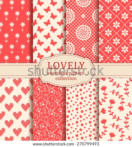 Set of cute patterns. Collection of seamless backgrounds in white and pink colors. Vector illustration. - stock vector