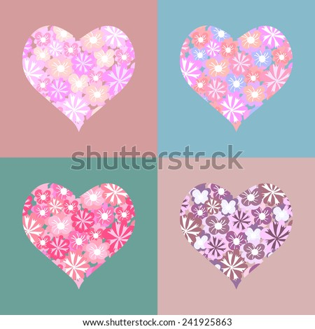 Set of cute pink and red hears with flowers. Greeting cards with flower hearts shape. - stock vector