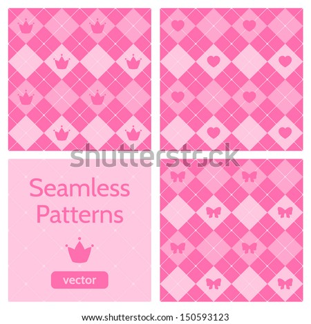 Set of cute pink girlish seamless patterns. Background with hearts, crowns, bows. Seamless argyle pattern. Can be used to design children's clothing. Vector illustration.  - stock vector