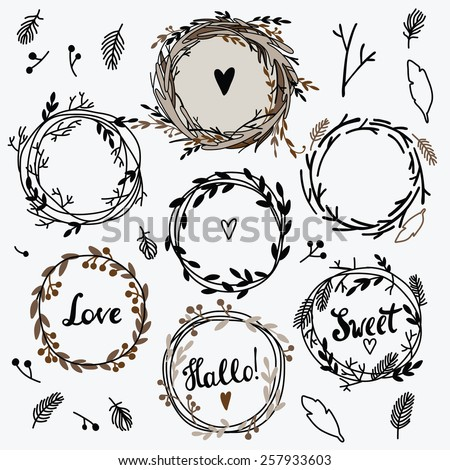 Set of cute retro flower wreath perfect for wedding invitations and birthday cards. Floral Frame Collection.  - stock vector