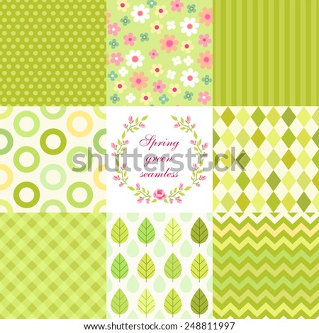 Set of cute retro primitive seamless patterns in spring green colors - stock vector