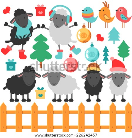 Set of cute sheep and christmas elements - stock vector