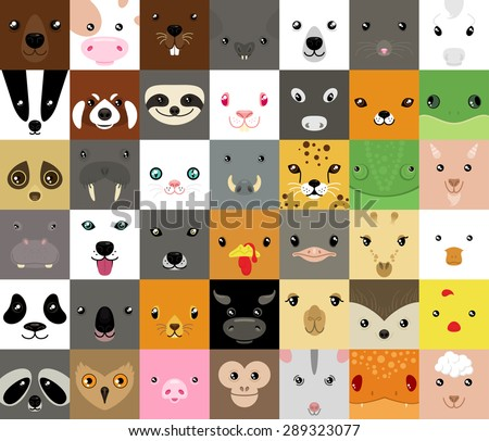 set of cute simple animal faces - stock vector