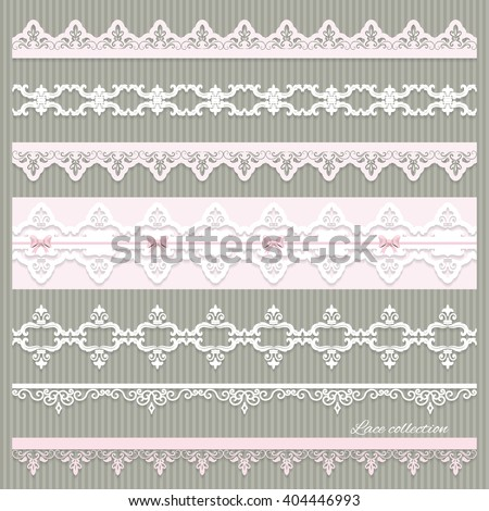 Set of cute straight lace in pastel pink and white colors. Can be used for scrapbook, baby shower or wedding design. - stock vector