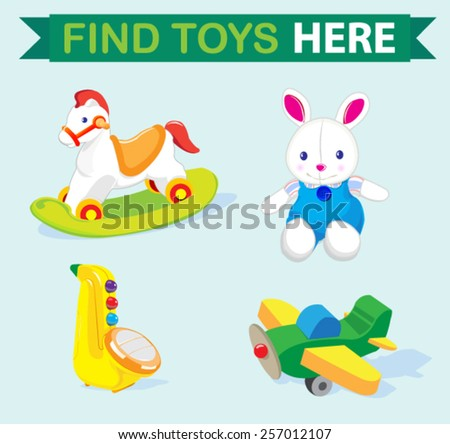 set of cute toys  - stock vector