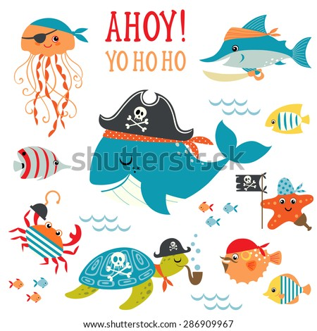 Set of cute undersea pirate design elements. - stock vector
