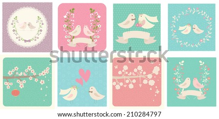 Set of cute vector cards  with birds in love. Ideal for scrap booking, celebration card, wedding invitation. - stock vector